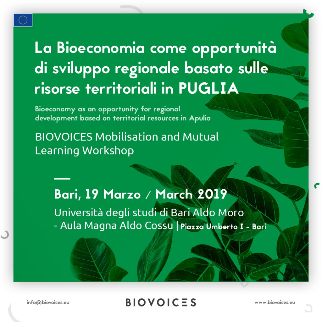 Workshop regionale del progetto BIOVOICES: La Bioeconomia come opportunità di sviluppo regionale basato sulle risorse territoriali in Puglia