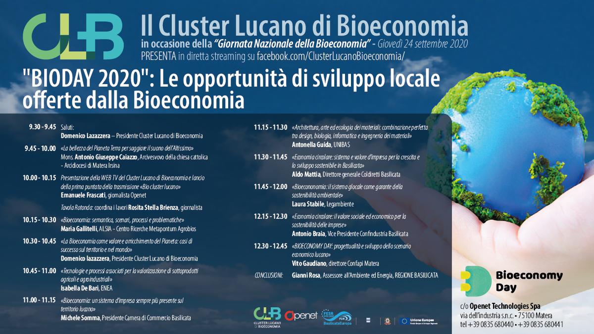 """""""BIODAY 2020"""": Le opportunità di sviluppo locale  offerte dalla Bioeconomia - convegno"""